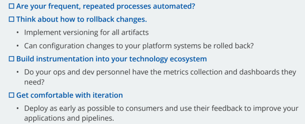 Portion of our DevOps checklist