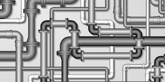 Graphic of pipes, in shades of gray